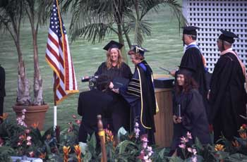 Receiving the diploma
